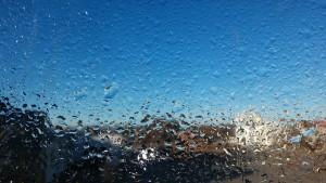 a photo of water condensation on a window
