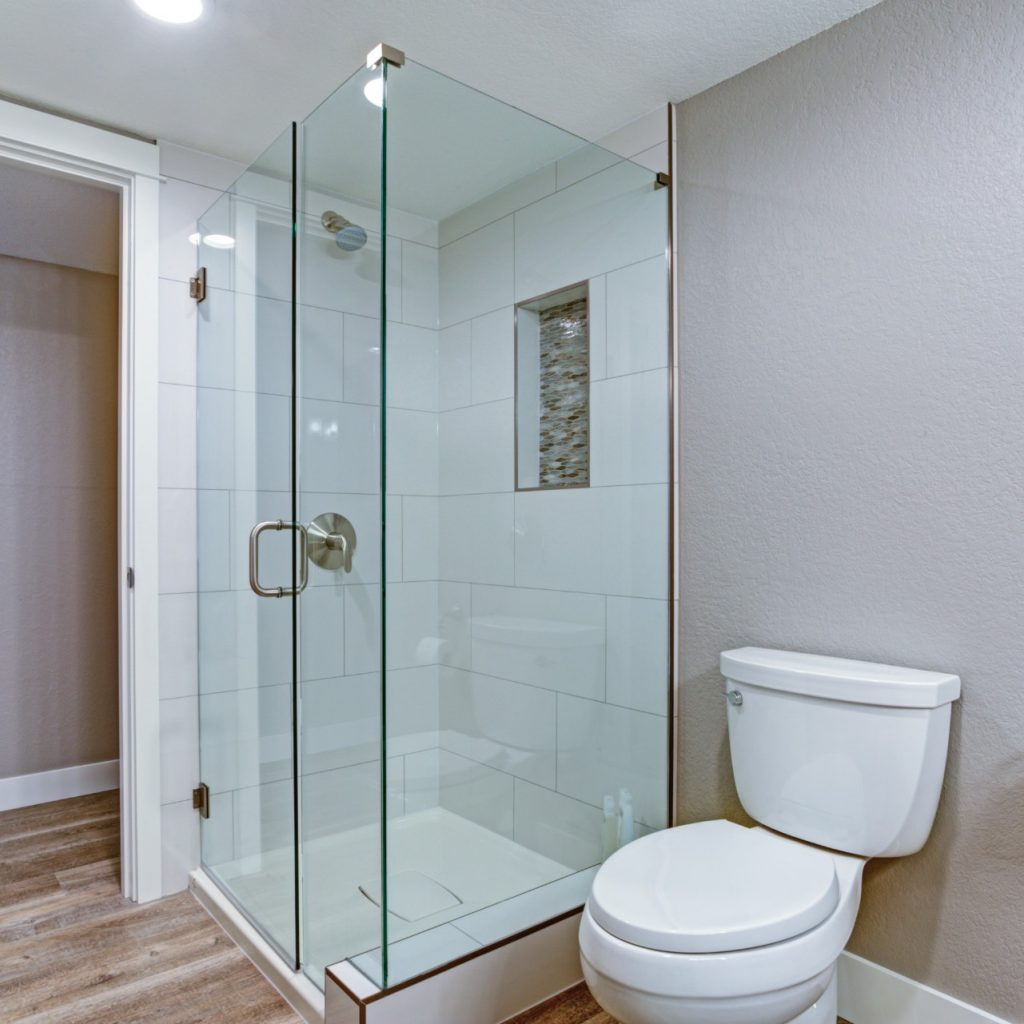 frameless shower glass enclosed space